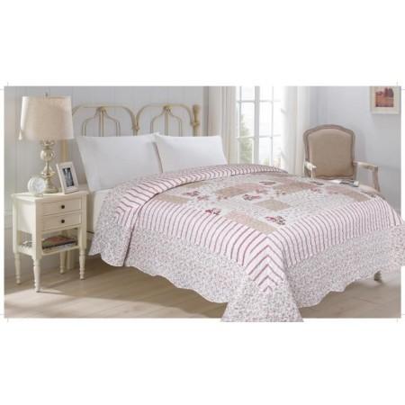 Přehoz přes postel na dvoulůžko, potisk květin, 100% polyester, 220x240 cm