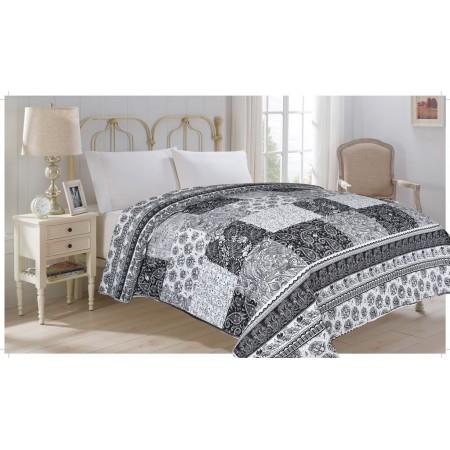 Přehoz přes postel na dvoulůžko, černá / bílá, 100% polyester, 220x240 cm