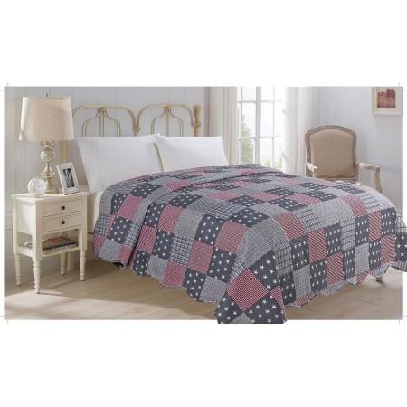 Přehoz přes postel na dvoulůžko, vzor Americano, 100% polyester, 220x240 cm
