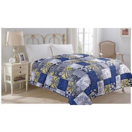Přehoz přes postel na dvoulůžko, vzor Čtverce, 100% polyester, 220x240 cm