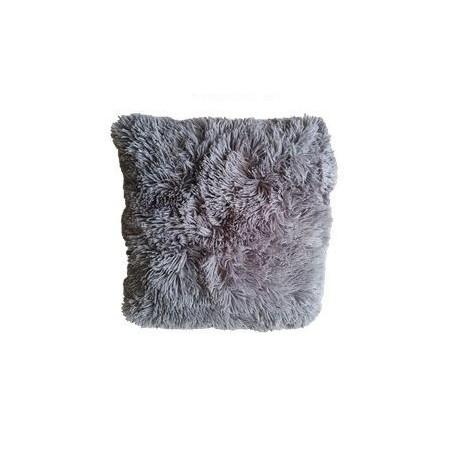 Ozdobný povlak na polštář s dlouhým chlupem, šedý, 40x40 cm