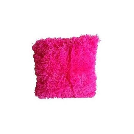 Ozdobný povlak na polštář s dlouhým chlupem, růžový, 40x40 cm