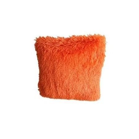 Ozdobný povlak na polštář s dlouhým chlupem, oranžový, 40x40 cm