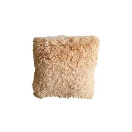 Ozdobný povlak na polštář s dlouhým chlupem, béžový, 40x40 cm