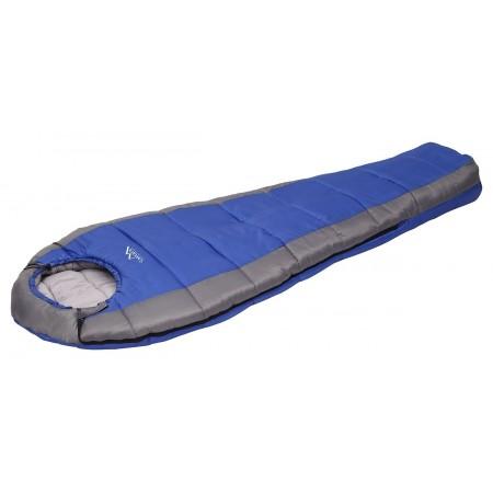 Kvalitní spací pytel mumiový, stahovací kapuce, modrá / šedá, -5°C
