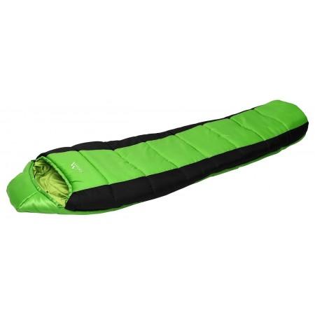 Mumiový spací pytel se stahovací kapucí, černá / zelená, 0°C