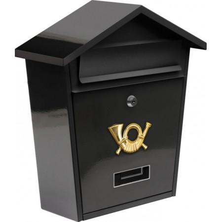 Kovová poštovní schránka nástěnná, práškový lak, se stříškou, černá, 38 cm