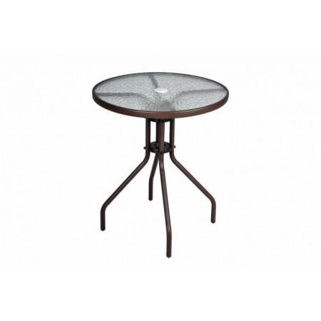 Kulatý ocelový zahradní stůl se skleněnou deskou