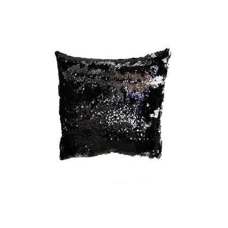Dekorativní potah na polštář s flitry dvoubarevný, černá / stříbrná lesklá, 40x40cm