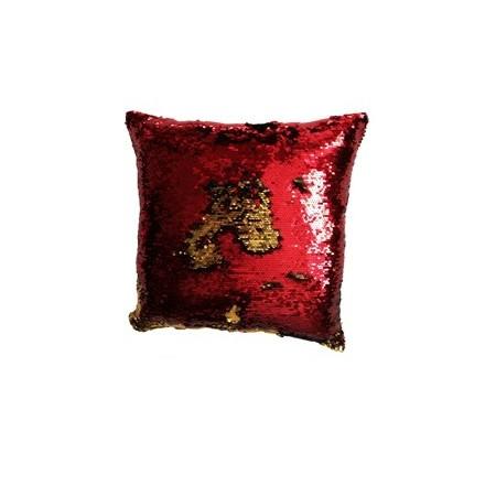 Dekorativní potah na polštář s flitry dvoubarevný, červená / zlatá, 40x40cm