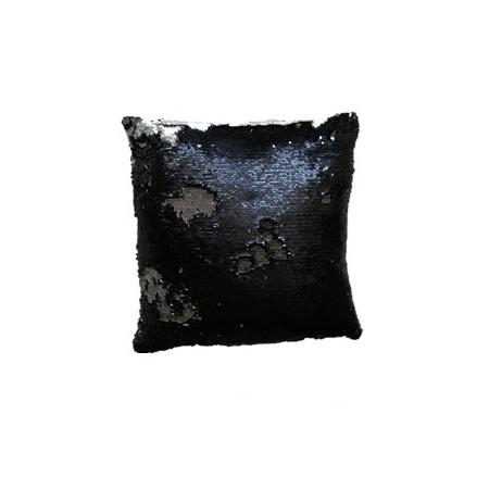 Dekorativní potah na polštář s flitry dvoubarevný, černá / stříbrná matná, 40x40cm