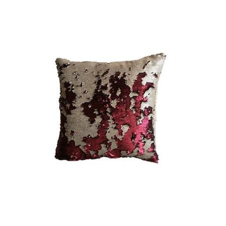 Dekorativní potah na polštář s flitry dvoubarevný, béžová / vínová, 40x40cm