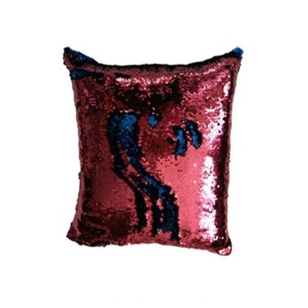 Dekorativní potah na polštář s flitry dvoubarevný, růžová / modrá, 40x40cm