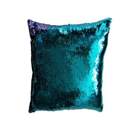 Dekorativní potah na polštář s flitry dvoubarevný, tyrkysová / fialová, 40x40cm