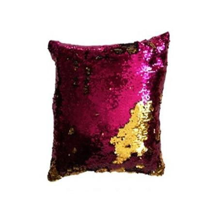 Dekorativní potah na polštář s flitry dvoubarevný, fuchsiová / zlatá, 40x40cm