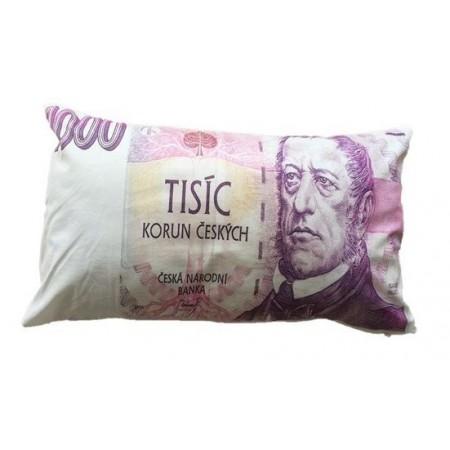 Originální dekorativní polštář s potiskem bankovky 1000 Kč, 35x60 cm