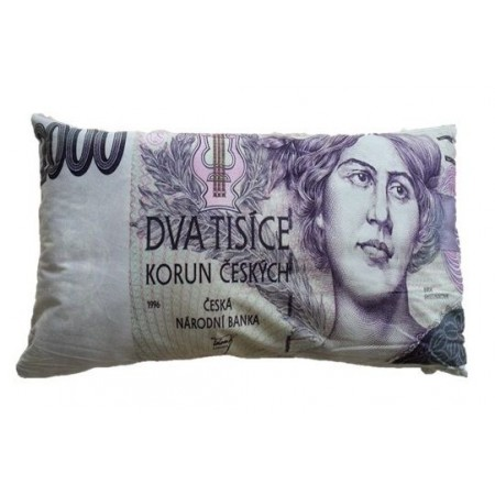 Originální dekorativní polštář s potiskem bankovky 2000 Kč, 35x60 cm