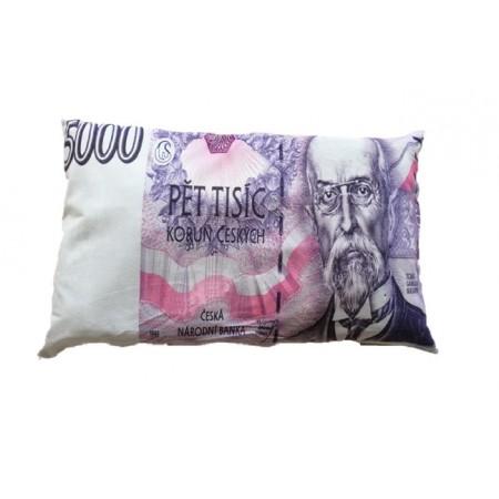 Originální dekorativní polštář s potiskem bankovky 5000 Kč, 35x60 cm