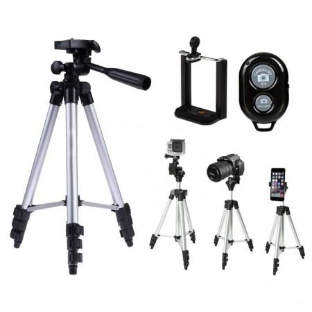 Skládací stativ na fotoaparát / telefon, teleskopické nohy, dálkové ovládání