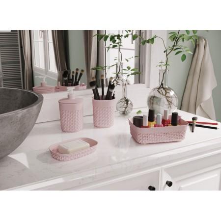 Plastový ozdobný kelímek do koupelny, na kartáčky / kosmetické potřeby, růžový, 12 cm