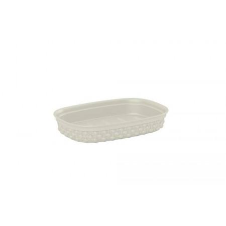 Dekorativní plastová podložka na mýdlo krémová, 15x10cm
