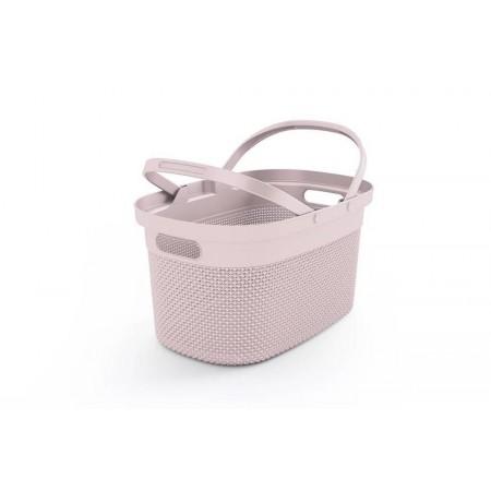 Dekorativní plastový košík se sklopnými úchyty 21L, růžový