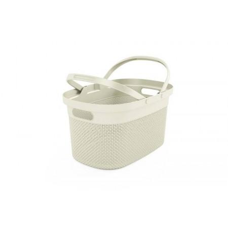 Dekorativní plastový košík se sklopnými úchyty 21L, krémový