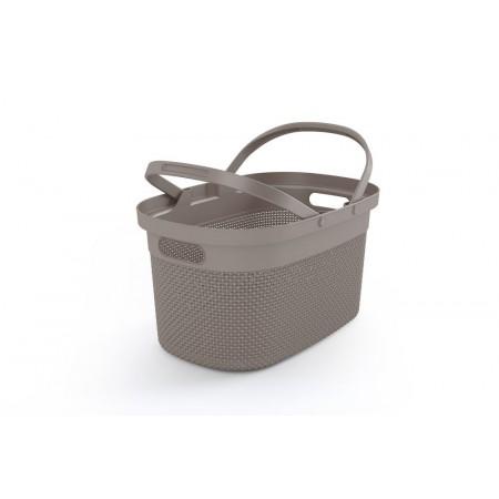 Dekorativní plastový košík se sklopnými úchyty 21L, hnědošedý