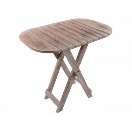 Skládací dřevěný stolek oválný rustikálního vzhledu, 50x38cm