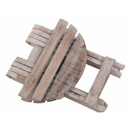 Kulatý dřevěný skládací stolek rustikálního vzhledu, průměr 31cm