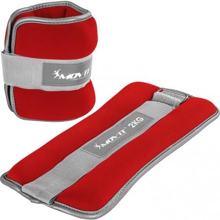 Zátěže na ruce a nohy neoprenové s reflexními prvky, červené, 2x2 kg