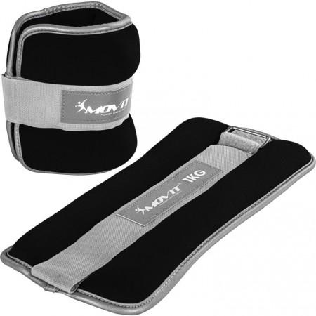 Zátěže na ruce a nohy neoprenové s reflexními prvky, černé, 2x1 kg