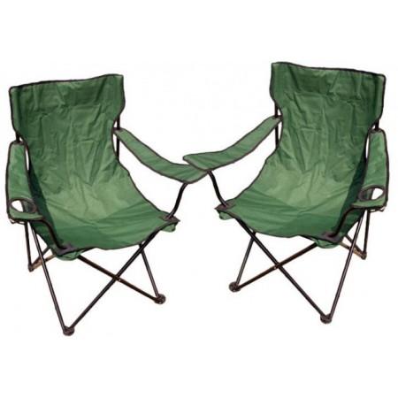 Kempingová sada - 2x skládací židle s držákem - zelená skládací kemponkové židle vč. obalu, zelené