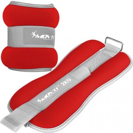 Fitness zátěže na ruce a nohy s reflexními prvky, červené, 2x2 kg