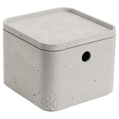 Dekorativní úložný box do domácnosti, s víkem, šedý - imitace betonu, 13x17x17cm