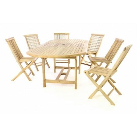 Sestava zahradního teakového nábytku s rozkládacím stolem, 6 židlí