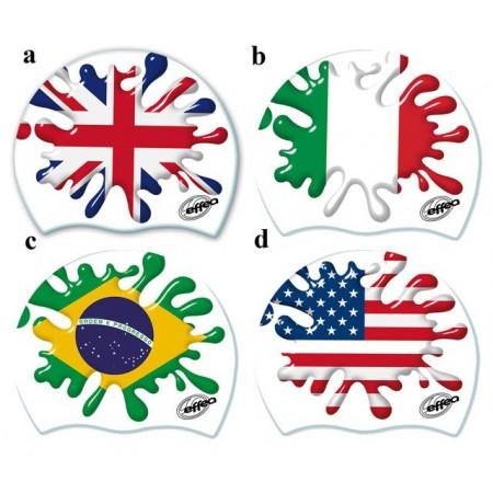 Silikonová plavecká čepice s potiskem vlajky, náhodný výběr