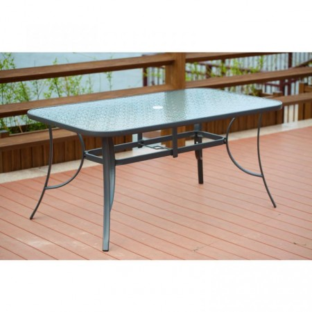 Zahradní stůl obdélníkový kovový, skelněná deska + otvor na slunečník, šedý, 150x90cm