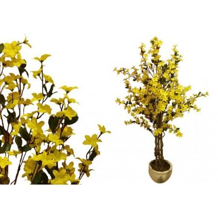 Umělá květina jako živá, Forsythia, žluté květy, 130 cm