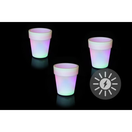 3 ks svítící LED květináč se solárním nabíjením, změna barvy, 19x17cm