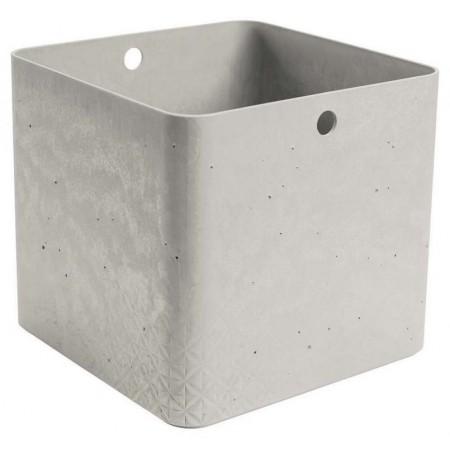 Stohovatelná úložná bedna do domácnosti plastová, imitace betonu, bez víka, 28x28x26cm