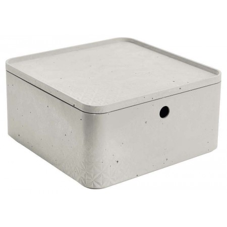 Stohovatelná úložná bedna do domácnosti plastová, imitace betonu, s víkem, 28x28x14cm