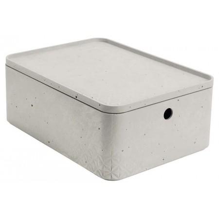 Stohovatelná úložná bedna do domácnosti plastová, imitace betonu, s víkem, 34x25x13cm