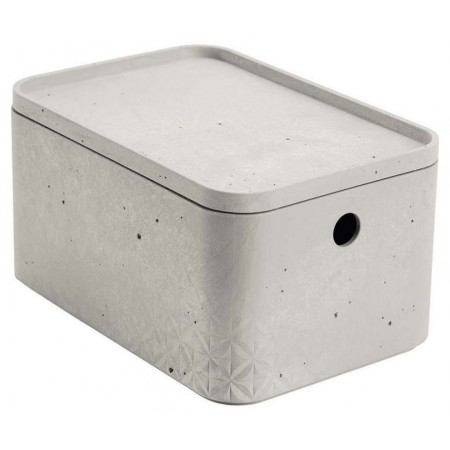 Stohovatelná úložná bedna do domácnosti plastová, imitace betonu, bez víka, 25x17x13cm