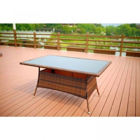 Elegantní ratanový stůl se skleněnou deskou, hnědá / černá, 150x90cm