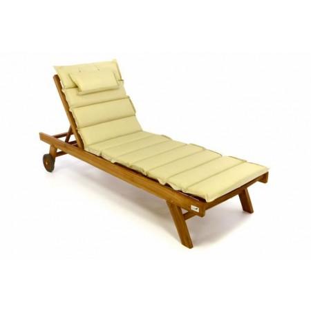 Kvalitní dřevěné venkovní lehátko z teaku + béžové polstrování (snímatelný potah)
