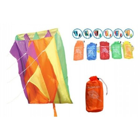 Parafoil kite - létající drak pestrobarevný, nylon, 60x51cm