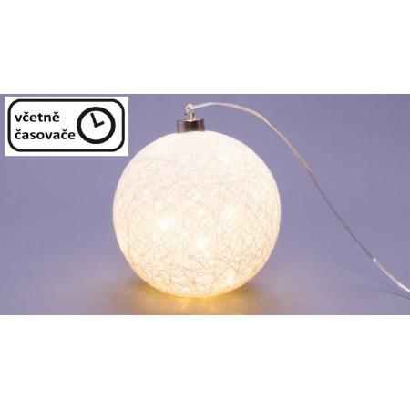 Vánoční svítící baňka (koule) na baterie, časovač, 40 LED, průměr 15 cm