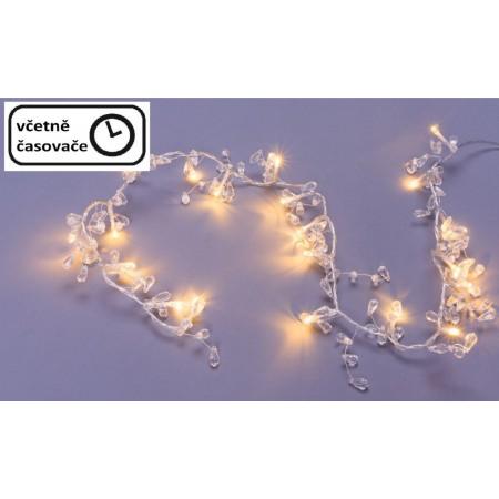 Světelný řetěz s ozdobnými krystaly na baterie vnitřní, 20 LED, časovač, 0,95 m