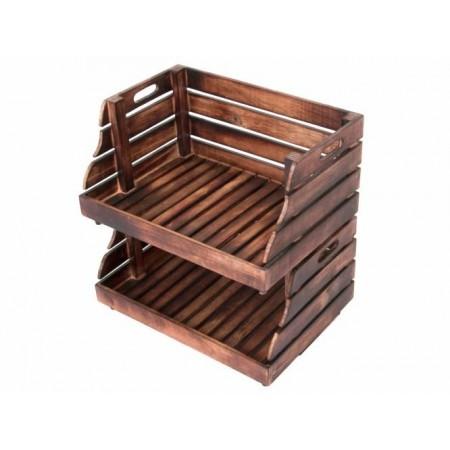 2 ks dekorativní stohovatelná dřevěná bedýnka otevřená, vintage vzhled- hnědá, 49x34x26cm